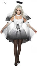 Ghost Bride Costume Womens Zombie Angel Halloween Vampire Fancy Dress