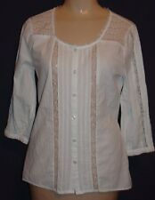 Junior M Mudd BOHO PEASANT white cotton eyelet button front shirt 3/4slvs XC-LKN