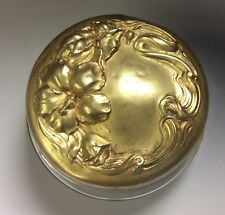 Powder jar vintage glass with brass ornate flower design beauty lid