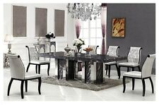 Marble Dining Table with 8 White Chairs, Grey Colour, BRAND NEW
