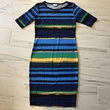 Lularoe Julia Dress Striped Blue Yellow Green Watercolor Career - Size S