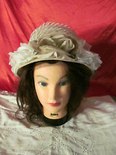 Vintage Ladies Hat Cream and White Flowers Union Made Gimbels