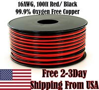 16 AWG Gauge Copper Red Black Zip Wire Car Audio Automotive Trailer Cable 100 ft