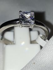 SOLITAIRE ENGAGEMENT SIMULATED DIAMOND STAINLESS STEEL RING UK P USA 8