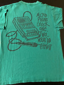 rARE Stussy Michrophone Check One Two What Is This T-Shirt Streetwear Hip Hop