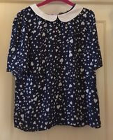 TU Navy Floaty Hearts Top With Peter Pan Collar, Size 12 - Super!