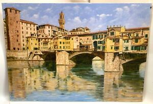 """Florence Italy """"PONTE VECCHIO FIRENZE"""" Oil Painting on Canvas -Claudio Ciardi"""