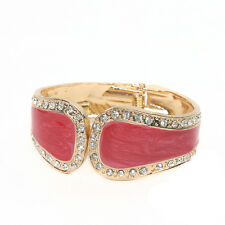GORGEOUS 18K GOLD PLATED PINK MARBLED ENAMEL AND CLEAR RHINESTONE BANGLE