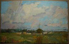 Russian Ukrainian Oil Painting Impressionism Landscape sunny day clouds wind