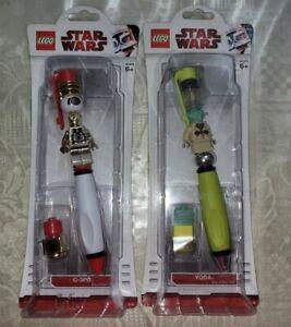 LEGO Star Wars YODA +C3PO Ballpoint Pen Minifigure Factory Seal LOT