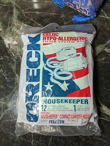 (12) ORECK HOUSEKEEPER VACUUM CLEANER BAGS, PKBB12DW, (1) MOTOR FILTER, GENUINE