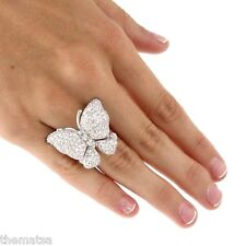 WOMENS SILVER TONE BUTTERFLY 4.50 TCW ROUND CZ RING SIZE 7,8,9,10,11,12