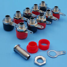 10Pcs 4mm Insulated Banana Socket Jack Plug Connector Binding Post Nut Red+Black