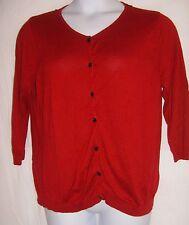 August Silk Size XL Red Cardigan w/Black Lace Cutout