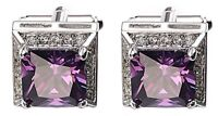 Amethyst Purple Swarovski Crystal Gem Mens Gift Cuff links by CUFFLINKS DIRECT