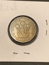 1937 UK Great Britain British ThreePence Coin 🇬🇧 WWII Era Really Nice!