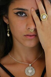 Tribal Septum Brass Fake Nose Ring For Non Pierced Nose Clicker Clip On Ornate