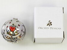 Cupcake Trinket Box Polished Metal Heart Theme Hinged Lid with Magnet Closure