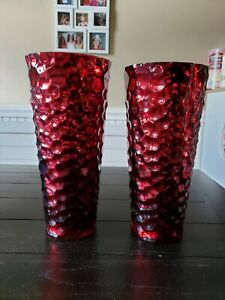 "Set of 2 Red Mercury Glass Style Large Vases Christmas Decor 11"" & 12"" tall"