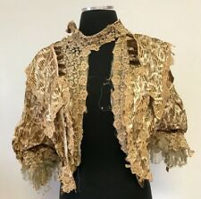 Rare Antique Victorian Brown and Tan Silk Bodice With Lace and Velvet Trim As Is
