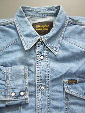 Wrangler Western Denim Shirt Men's Large XL Extra Blue Pearl Snaps Vtg # LSHz297