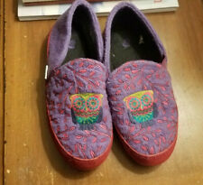 Girls Acorn Colby Gore Moc House Slippers-Embroidered-Purp le-Owl-Size 3/4-Vguc!