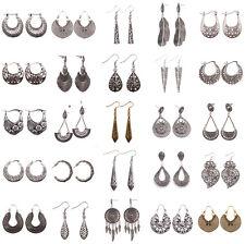 Women Vintage Bohemian Ethnic Carved Dangle Stud Earring Ethnic Style Jewelry