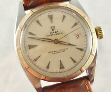 1951 Rolex 6075 Bubble Back 14K Rose Gold/SS Red Date Redone Dial Patina