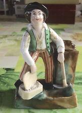 Ancien Encrier Biscuit Porcelaine polychrome Montagnard & sa Pioche Vintage