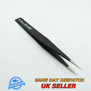 Stainless Steel Anti-Static Tweezers ESD16 Straight Fine Tip Precise
