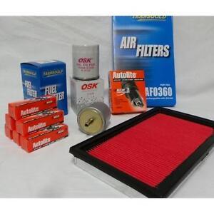 SUITS NISSAN NAVARA D22 v6 3.0 VG30 PETROL SPARK PLUG & FILTER KIT 2000-2005