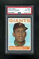 1964 TOPPS #390 ORLANDO CEPEDA SAN FRANCISCO GIANTS PSA 8 NM/MT++SHARP CARD!