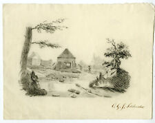 Antique Drawing-LANDSCAPE WITH MILL AND FIGURES-Schlencker-c.1825