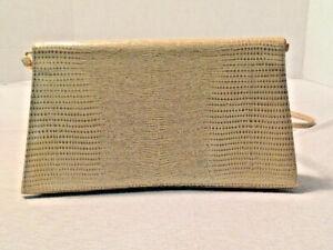 J. Renee Elegant Evening Clutch Handbag- Beige Crocodile