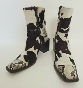 Buttero 36.5 Black & White Pony Hair / Faux Snake Print Cowboy Boots Italy FLAWS