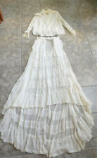 Antique 1880's The Royal Victorian 2 Piece Wedding Gown Layers of Ruffles Small
