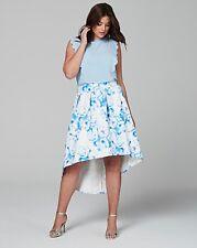 Wolf & Whistle Curve drop hem blue floral midi skirt uk size 26 bnwt ref BOX 100