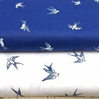 Shabby Chic Blue Birds 100% Cotton Fabric. Price per 1/2 meter