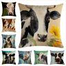 "18"" Cushion Cover Farmhouse Cow Linen Animals Throw Pillow Case Car Sofa Cojines"