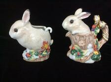 Fitz and Floyd Ceramic Bunny Rabbit Creamer and Sugar, Winter Fruit/Berries/Snow
