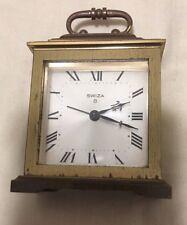Vintage Swiza 8 day Desk Alarm Clock Solid Brass