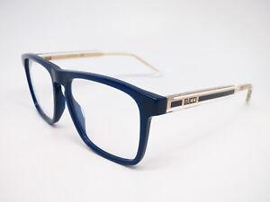 New Authentic Gucci GG0561O 004 Crystal / Blue Eyewear Eyeglasses 54mm Rx-able