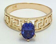 TANZANITE 0.85 carats GREEK DESIGN 10k Yellow Gold Ring *FREE SHIPPING*
