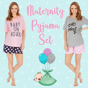 Maternity Pyjamas Pajamas PJs Nursing Short Sleeved Shorts Tshirt Tee Loungewear