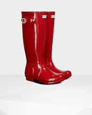 Hunter Original Tall Rain Boots RED Gloss Size 9