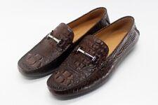 Men's Shoes Genuine Crocodile Alligator Skin Leather Handmade Brown, Size 7-11US