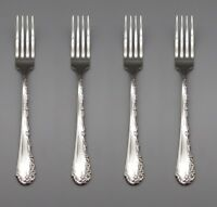 SET OF FOUR - Oneida Stainless Flatware  BELLE ROSE Dinner Forks * USA