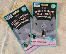 JiiNJU Beauty Bamboo Charcoal Sheet Mask  2 Packs NEW Made In Korea