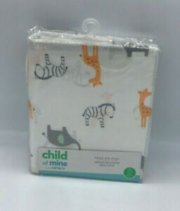"""Carter's  safari Baby Fitted Crib Sheet ONLY-  52"""" x 28"""" SEE DETAILS 👓"""