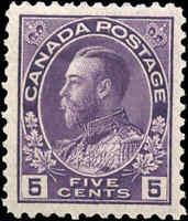 Mint H 1922 Canada F+ 5c Scott #112 King George V Admiral Issue Stamp